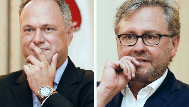 ORF-Finanzdirektor Richard Grasl und der amtierende ORF-Generaldirektor Alexander Wrabetz (Bild: APA/ERWIN SCHERIAU)