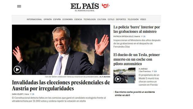 So reagiert die Welt auf den Neuwahl-Entscheid (Bild: El Pais)