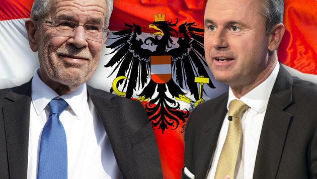 Die Bundespräsidentschaftskandidaten Alexander Van der Bellen und Norbert Hofer (Bild: thinkstockphotos.de, APA/GEORG HOCHMUTH, ORF/THOMAS JANTZEN)