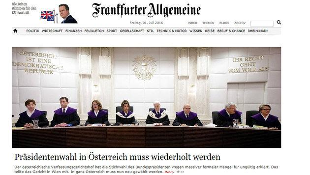 So reagiert die Welt auf den Neuwahl-Entscheid (Bild: Frankfurter Allgemeine)