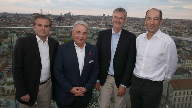 Christoph Klingler, Klaus Peter Schulenberg, Andreas Egger und Christoph Dichand (von links) (Bild: Zwefo)