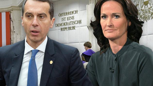 Bundeskanzler Christian Kern, Grünen-Chefin Eva Glawischnig (Bild: APA/HERBERT NEUBAUER, AP/Geoffroy Van der Hasselt, ORF)