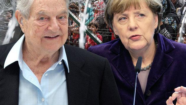 George Soros, Angela Merkel (Bild: AFP/ARMEND NIMANI, AP/Francois Walschaerts, AFP/ERIC PIERMONT)