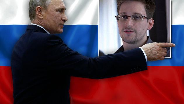 Russlands Präsident Wladimir Putin, US-Whistleblower Edward Snowden (Bild: AP/Sergey Chirikov, AP/Glenn Greenwald)
