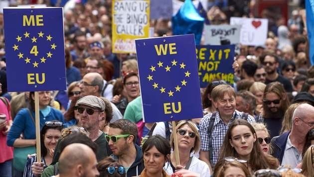 """Zehntausende Briten protestieren gegen EU-Austritt (Bild: APA/AFP/NIKLAS HALLE""""N)"""