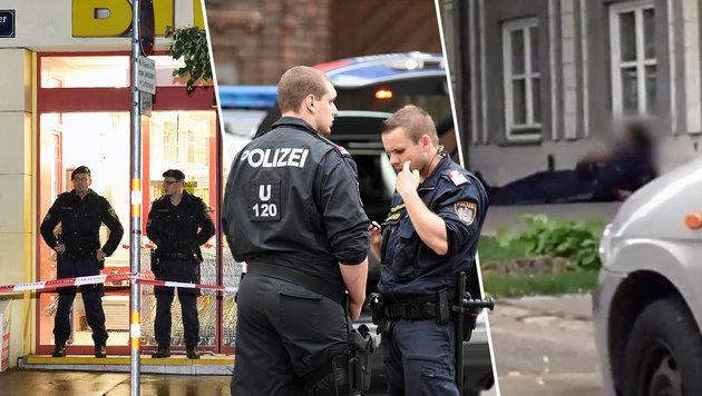 Ein Polizist (rechts im Bild) wurde bei dem Überfall in Bauch und Oberschenkel getroffen. (Bild: APA/HERBERT P. OCZERET, YouTube.com)