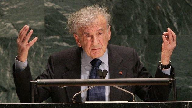 Elie Wiesel während einer Rede vor der UNO-Vollversammlung im Jahr 2005 (Bild: APA/AFP/DON EMMERT)