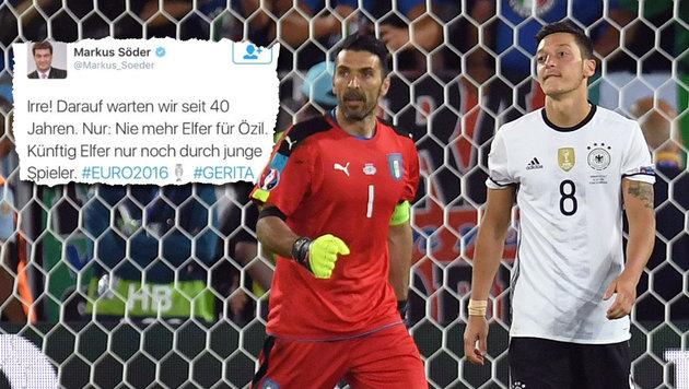 """Nach Strafstoß-Panne: """"Nie wieder Elfer für Özil!"""" (Bild: APA/AFP/PATRIK STOLLARZ, twitter.com)"""