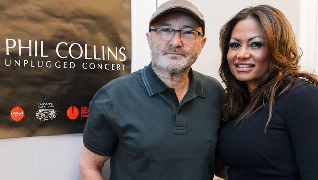 Phil Collins und seine Orianne (Bild: APA/AFP/FABRICE COFFRINI)