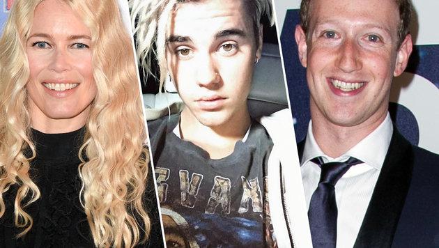 Claudia Schiffer, Justin Bieber, Mark Zuckerberg (Bild: Viennareport)