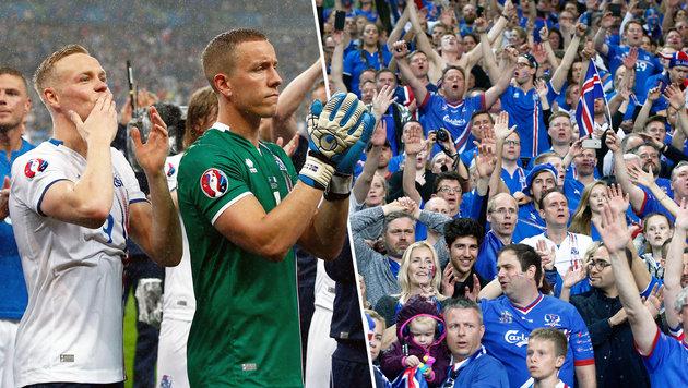 Island als Europameister der Herzen gefeiert (Bild: AP)