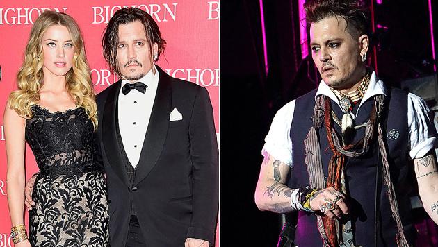 """Aus """"Slim"""" wurde """"Scum"""": Johnny Depp ließ sein Liebes-Tattoo überstechen. (Bild: APA/AFP/GETTY IMAGES/Frazer Harrison, Viennareport)"""
