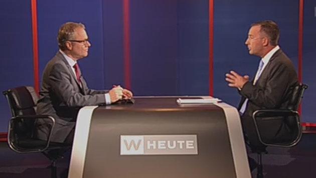 """Wiens Polizeipräsident Gerhard Pürstl (rechts) in """"Wien heute"""" (Bild: ORF-TVthek)"""