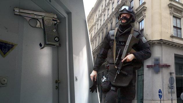 """Blazenko K. trug eine Beretta-Pistole, wurde von der WEGA getötet. Er lebte mit Wolfgang A. in Wien. (Bild: """"Krone"""", Wikipedia, Martin A. Jöchl)"""