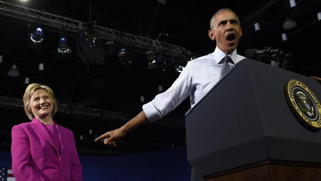 """Obama unterstützt Clinton: """"Ich glaube an sie"""" (Bild: Associated Press)"""