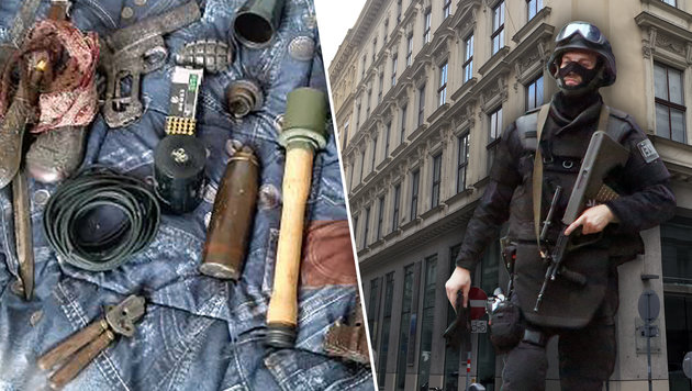 """Ein Arsenal an Waffen wurde in der Wohnung des mutmaßlichen Komplizen (63) sichergestellt. (Bild: Martin A. Jöchl, APA/LPD Wien, """"Krone"""")"""