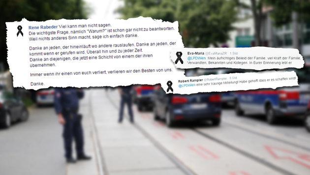 """Trauer im ganzen Land: """"Ein Held ging von uns"""" (Bild: Martin A. Jöchl, facebook.com, twitter.com)"""