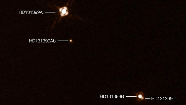 Die direkte Abbildung von HD 131399Ab im Dreifach-Sternsystem HD 131399 (Bild: ESO/K. Wagner et al.)