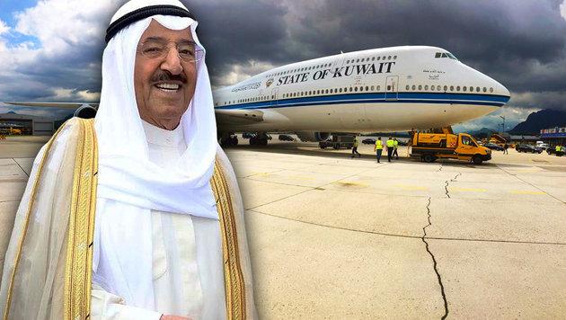 Emir von Kuwait landet mit XXL-Flieger in Salzburg (Bild: Alexander Klaus, facebook.com/salzburgairport)