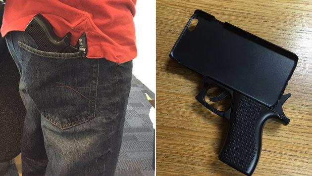 Pistolen-Handyhülle am Flughafen: Polizei erzürnt (Bild: twitter.com/EssexPoliceSTN)