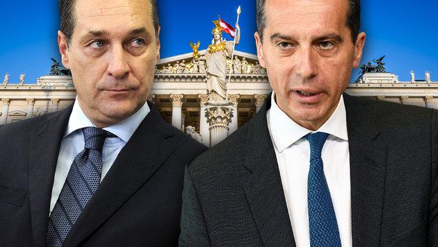 Strache ein Partner für Kanzler Kern? (Bild: thinkstockphotos.de, APA/Herbert Pfarhofer, AFP/John Thys)