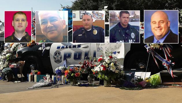 Trauer um Michael Krol, Michael Smith, Brent Thompson, Patrick Zamarripa und Lorne Ahrens (v.l.n.r.) (Bild: APA/AFP/Getty Images/Spencer Platt, twitter.com)