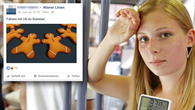 Nur wenige nehmen die Hitze in den Waggons mit Humor. (Bild: Martin A. Jöchl, Facebook.com)