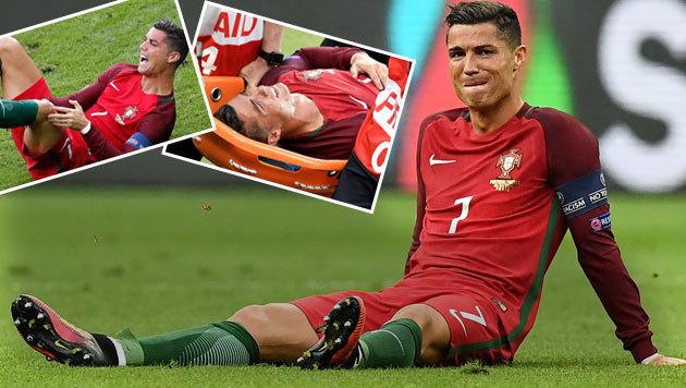 Das Ronaldo-Drama: Nach Payet-Foul verletzt out (Bild: AP)