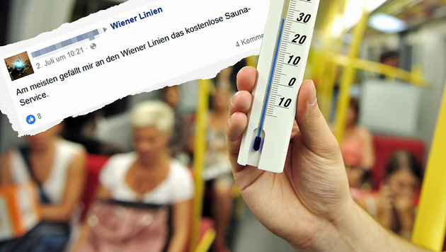 """Öffi-Fahrgäste empört über """"gefühlte 50 Grad"""" (Bild: Wiener Linien/Johannes Zinner; Facebook.com, krone.at-Grafik)"""