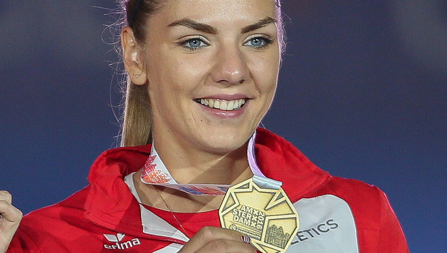 Ivona Dadic bei der Siegerehrung der Leichtathletik-EM 2016. (Bild: GEPA pictures/ Mario Kneisl)