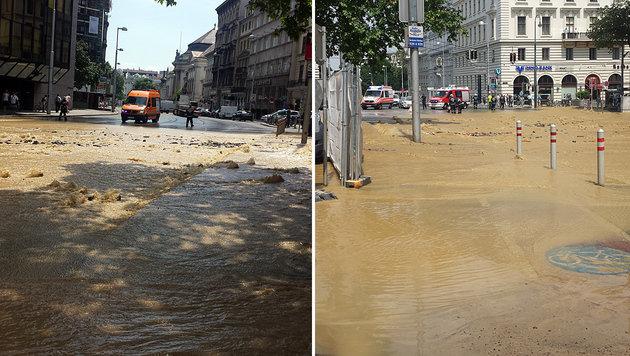 """Wasserrohr bei Bauarbeiten in Wien demoliert (Bild: """"Krone""""-Leserreporter Hakan Kijak)"""