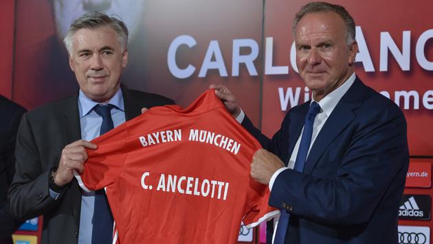 Carlo Ancelotti: Sein erster Auftritt bei Bayern (Bild: APA/AFP/GUENTER SCHIFFMANN)