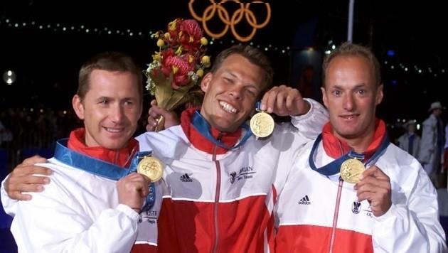 Die Spiele 2000 in Sydney waren die erfolgreichsten: Gold für Hagara, Sieber und Steinacher (v.l.). (Bild: Gerhard Gradwohl)