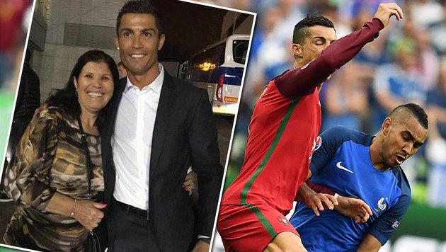 Ronaldos Mutter tobt nach Foul von Payet (Bild: APA/AFP/FRANCK FIFE, facebook.com)