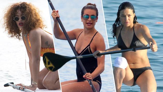Rihanna, Lea Michele, Michelle Rodriguez mit Paddel am Surfbrett (Bild: Viennareport)