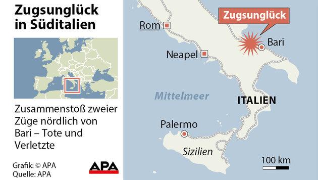 Zugkatastrophe in Italien: Suche nach Schuldigen (Bild: APA-Grafik)