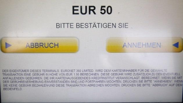 """Kurz vor der Behebungsbestätigung findet sich der """"versteckte"""" Hinweis auf die Kosten. (Bild: Martin A. Jöchl)"""