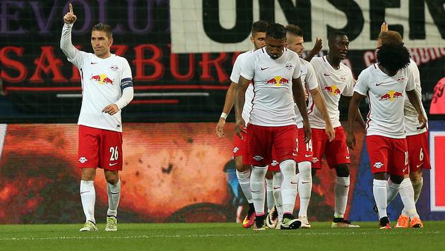 Salzburg müht sich zu 1:0-Sieg gegen Liepaja (Bild: APA/DANIEL KRUG)