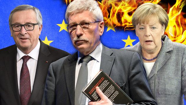 EU-Kommissionschef Jean-Claude Juncker, Autor Thilo Sarrazin, Kanzlerin Angela Merkel (v.l.) (Bild: thinkstockphotos.de, APA/AFP/L. Venance, dpa, APA/EPA/W. Kumm)