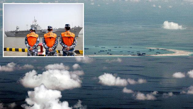 Von China aufgeschüttete Inseln im Südchinesischen Meer; chinesische Küstenwache (kl. Bild) (Bild: ASSOCIATED PRESS)