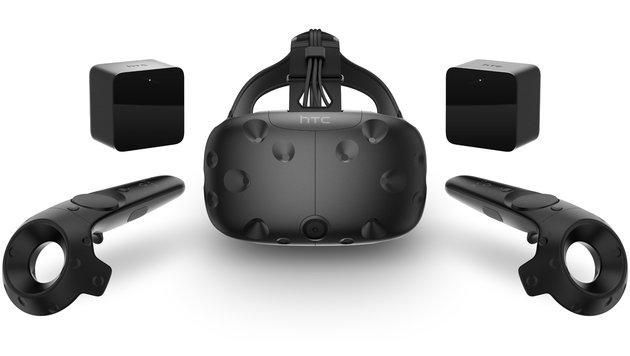 Das Vive-System: VR-Brille, Positionsmesser und Bewegungs-Controller (Bild: HTC)