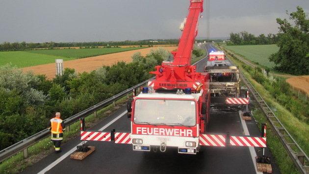 Mit einem Schwerlastkran wurde das Buswrack abtransportiert. (Bild: FF Wiener Neudorf, FF Guntramsdorf)