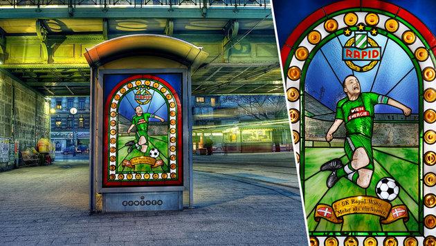 Imagekampagne: Rapid-Plakate als Kirchenfenster (Bild: SK Rapid/Jandl & Kuchar)