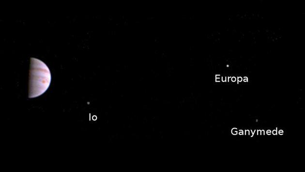 Jupiter (links) und drei seiner vier größten Monde (Bild: NASA/JPL-Caltech/SwRI/MSSS)