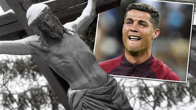 """Jetzt wird""""s skurril: """"Ronaldo wie Jesus Christus"""" (Bild: APA/HERBERT PFARRHOFER, APA/AFP/MARTIN BUREAU)"""
