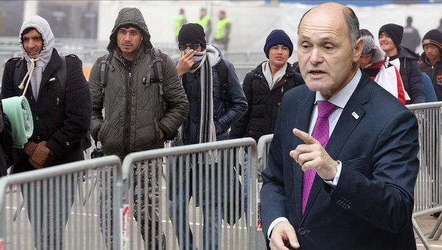 """""""Keine Grundversorgung für Illegale"""" (Bild: AP/Roland Zak, APA/Robert Jäger)"""
