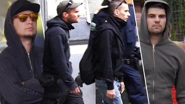 Die Polizei sucht vier Männer, die verdächtigt werden, mit der Steinwurf-Attacke zu tun zu haben. (Bild: APA/LPD WIEN)