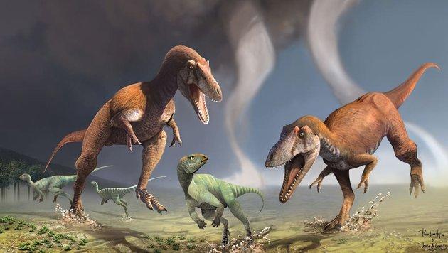 Illustration: So soll die neu entdeckte Dinosaurier-Art ausgesehen haben. (Bild: Jorge Gonzalez und Pablo Lara)