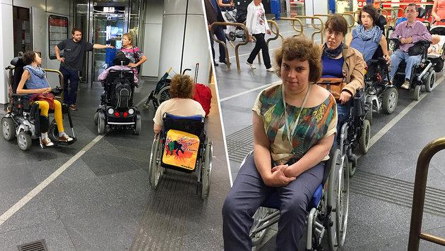 Zahlreiche Rollstuhlfahrer konnten am Mittwoch die U-Bahn-Station nicht verlassen. (Bild: Daniel Landau)