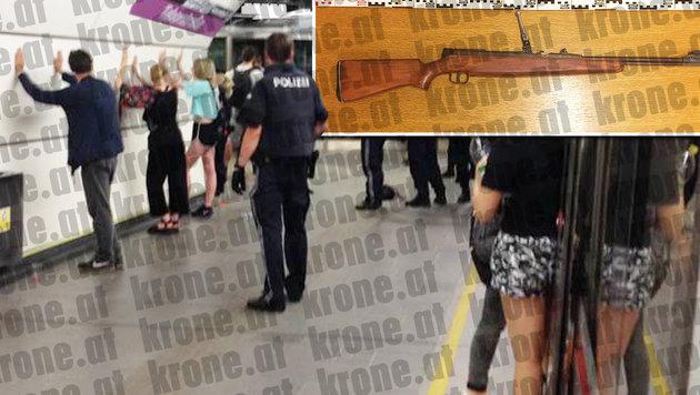 """Schüler hantierten mit Gewehr in U-Bahn herum (Bild: """"Krone""""-Leserreporter L. M., LPD Wien)"""